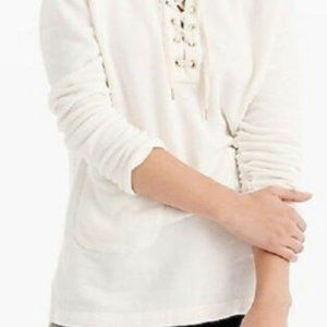 J Crew Lace-up Tunic Sweatshirt White French Terry